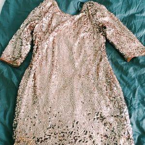 Loved Sequins low back quarter sleeve mini dress